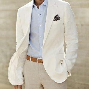 Ivory Linen Suit Custom Made Men White Linen Blazer And Pants Mens Linen Suits For Wedding Tuxedos For Men Tailored Groom Suit