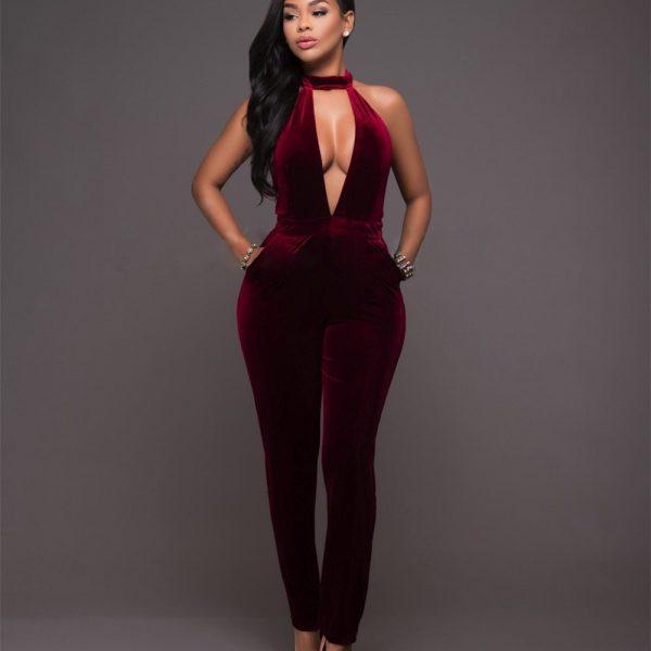 velvet jumpsuit party sexy jumpsuit elegant one piece jumpsuit 2020 backless trendy clothes for women combinaison pantalon femme