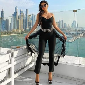 2020 Women Sexy Designer Lace Mesh Strapless Black Bandage Jumpsuit Bodycon High Street Celebrity Skinny Party Jumpsuit Rompers