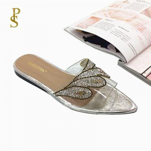 Crystal sequined pointed women's shoes ladies Slippers with shiny rhinestones