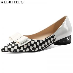 ALLBITEFO classic plaid pattern genuine leather high heels comfortable low-heeled office women heels pointed toe high heel shoes