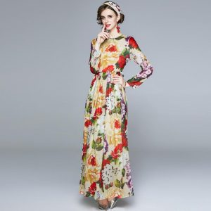 Runway Maxi Dresses for Women 2020 Spring Autumn Chic Floral Long Sleeve Dress Ladies Holiday Long Dress robe longue femme ete