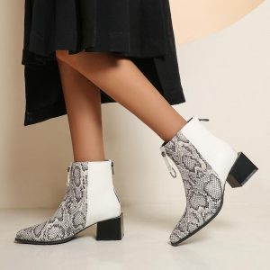 Oversized Snakeskin Leather Stitching Square Toe Chunky Heel Chelsea Boots Stone Pattern Thick Bottom Mid Heel Ankle Boots Snake