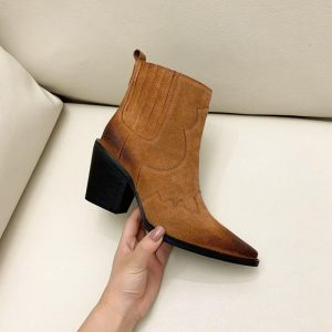 Hot Sale Real Cow Leather Suede Western Ankle Boots Women Point Toe Kitten Heels Short Boots Winter Cowboy Knight Boots Woman