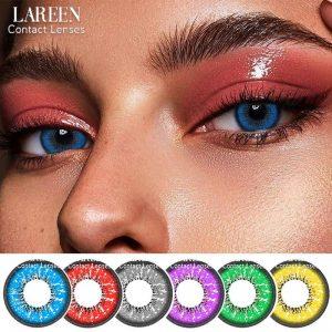 2Pcs/Pair Colored Contact Lenses For Eyes Love Words Series Blue Contact Lens Color Cosmetic Beautiful Pupil Lentes De Contacto