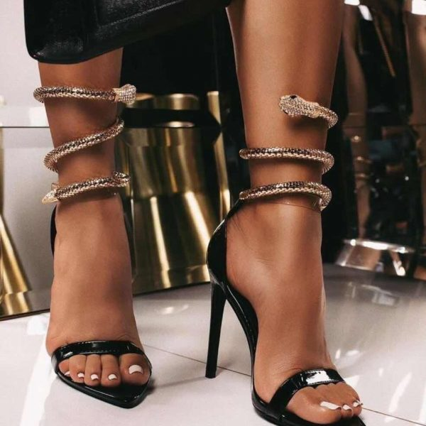 2020 Summer Women Sexy Pumps Sandals Stiletto Pointed Toe Ladies High Heels Fashion PU Snake Transparent Female Party Shoes Hot