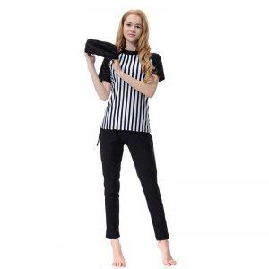 Stripe Short Sleeve Muslim Swimsuit Plus Size Burkini Women Modest Bathing Suit With Cap Islamic Swimwear musulmane Beachwear A4