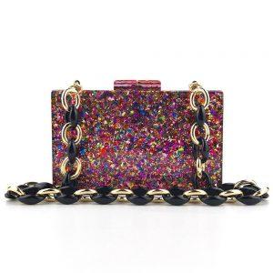 Dinner Bag Acrylic Color Glitter Hard Case Women Shoulder Chain a5669