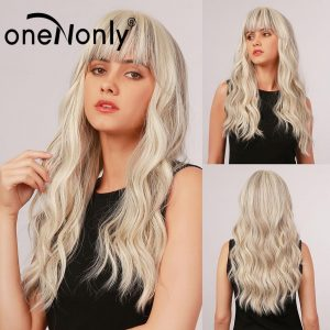 oneNonly Long Body Wave Ombre Mixed Blonde and Light Brown Synthetic Wigs with Bangs for Women Cosplay Daily Hair Heat Resistant