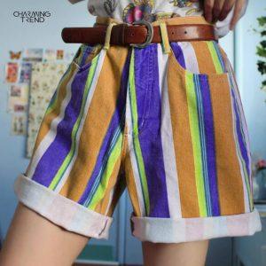 2021Summer Color Shorts Women Short Streetwear Short Vintage Striped Shorts High Street Colorful Loose Short Pants Fashion Short