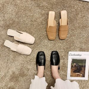 2020 New Summer Half Slippers Women Shoes Woman Mules Thick Low Heels Cover Square Toe Sandals Solid Leather Casual Shoes Slides