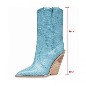 2019 Winter Fashion Embossed Microfiber Leather Women Pointed Toe Western Cowboy Boots Women Mid-calf Chunky Wedges Boots Runway