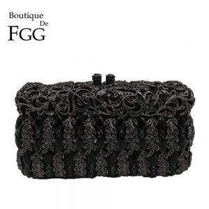 Boutique De FGG Elegant Black Crystal Women Evening Clutch Bag Hard Case Minaudiere Wedding Party Handbags Purses Metal Clutches