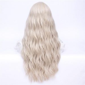 MSIWIGS Women Long Wavy Blonde Synthetic Wig with Bangs Grey Pink Hair Cosplay Girl Wig Heat Resistant