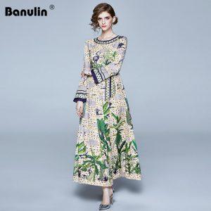 Banulin 2020 Spring New Fashion Long Maxi Runway Dress Women Long Flare Sleeve Elegant Bow Belt Floral Print Celebrate Dress