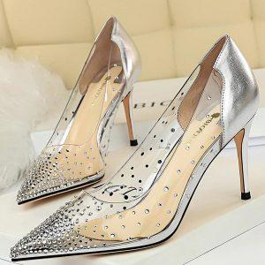 2021 Shoes Transparent Woman Pumps Sexy Women Heels 2020 Women Stiletto Wedding Shoes Women Basic Pump Ladies Shoes 8.5 Cm