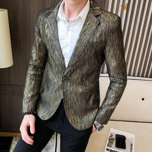 2020 Spring Male Business Prom Wedding Costume Homme High Quality Blazer Jacket Men Fashion Jacquard Casual Shining Blazer Suit