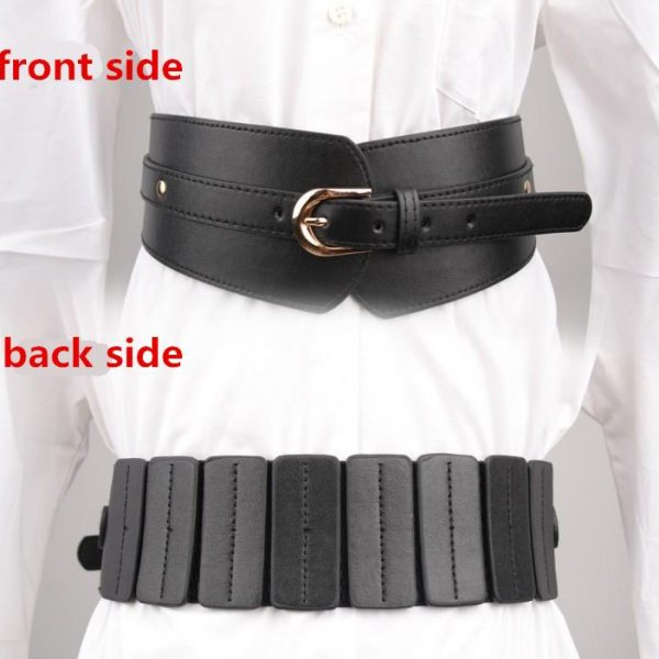 Women Wide Elastic Corset Belts for dress Fashion buckle Waistband Ladies Clothing Accesoories Female Decorations red PU leather