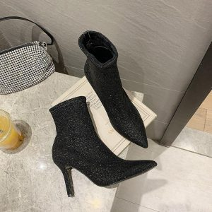 Fashion Women's Sexy Boots 2020 Party Ladies High Heel Shoes Ankle Booties Sock Bling Boots Shoes Winter Autumn Female Boot
