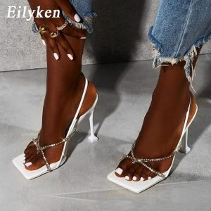 Eilyken Summer New Women Elegant Pvc Rhinestone Crystal Sandals Wedding Party Shoes Sexy Clip Toe Back Strap Female High Heels
