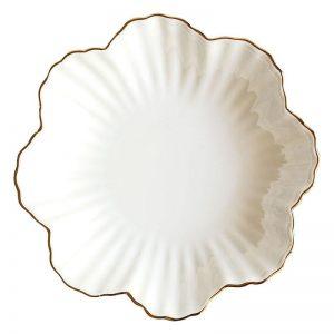 8 Inches Flower Shape Gold Edge Ceramic Plate Nordic Floral White Porcelain Dinner Plate Soup Salad Bowl Dessert Dish Tableware