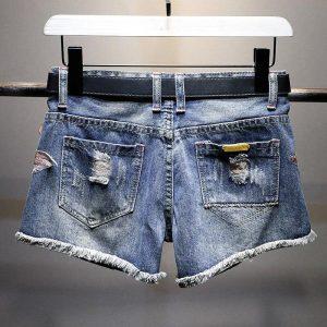 Women Jeans Skirt Shorts Feminino Denim Flowers Print Leg-openings Plus Size Ripped Sequins Zipper Shorts With Pockets 2020