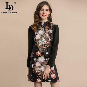 LD LINDA DELLA Fashion Runway Autumn Winter Suits Floral Print Women's Sets Gorgeous Button Vintage Skirts 2 Two Pieces Set
