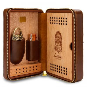 Lubinski Genuine Crocodile Leather Cedar Wood Travel Cigar Cigarette Case Humidor With Cutter Lighter Humidifier Set Fit COHIBA