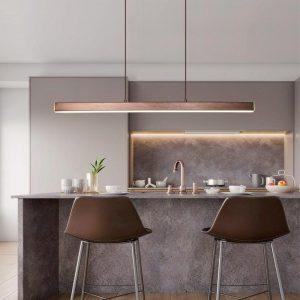 Black or Brown LED Pendant Lights For Dining Room Bar Coffee Shop Lighting Hanging Fixtures Modern Restaurant Long Pendant Lamp