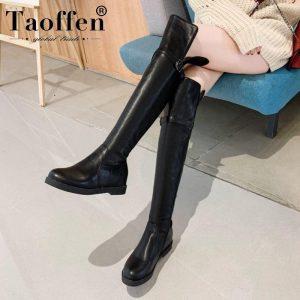 Taoffen Woman Over The Knee Boots Buckle Winter Flats Brand Zipper Long Boots Round Toe Shoes Women Footwear Size 32-43
