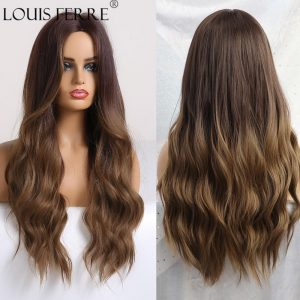 LOUIS FERRE Long Ombre Black Brown Wavy Wigs Hightlight Natural Middle  Part Synthetic Wig for Women Cosplay Heat Resistant Hair