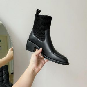 Women Socks Boots Autumn Winter Waterproof Boots Leather Woman Stretch Thin Boots Black Wild Botin Mujer Big Size Ankle Boots