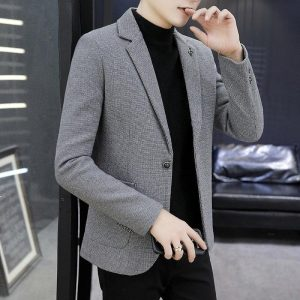 HOO 2020 new winter plus thick velvet plaid blazers of fine men's fashion casual warm Slim young single blazers