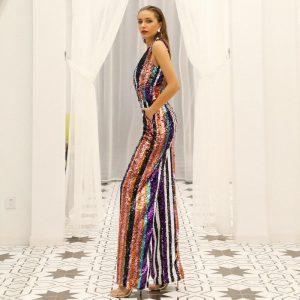 sexy deep V off-the-shoulder multicolor glitter backless stripes even pants wholesale jumpsuit FT18932 elegant party