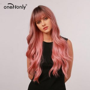 oneNonly Long Body Wave Ombre Pink Synthetic Wigs with Neat Bangs Dark Roots for Women Cosplay Natural Hair Heat Resistant