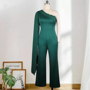 Women One Shouder Jumpsuits Sexy Party Patchwork Pleat Wide Leg Pants Celebrate Event Occasion Overalls Fall Clothes Fashion XL