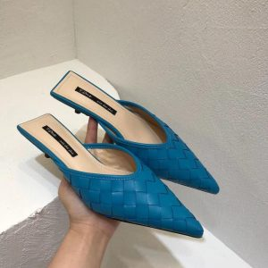 Pointed Toe Women Slippers Weave Design Thin Low Heels Slip On Fashion Blue Shoes Outdoor Causal Slides Slippers Mules Shoes