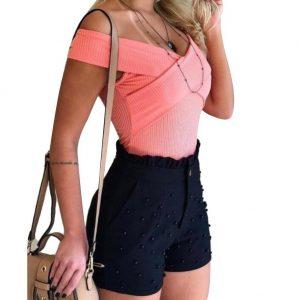 2020 new Fashion Solid Color High Waist Button Ruffled Beaded Summer Women Shorts Button Ruffled Beaded Summer Women Shorts