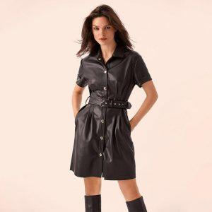 Women Sashes Pu Leather a Line Belt Dress Ladies Short Sleeve Turn Down Collar Elegant Dress 2019 New Fashion Mini Vintage