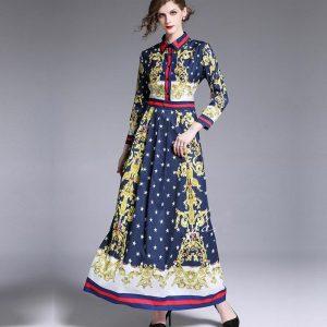 FANIECES NEW Vintage Women Autumn winter Maxi Dresses Bow Neck Female Print Long Lady Runway Dress vestidos de festa robe femme