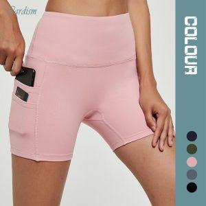 Cardism High Waist Yoga Shorts For Women 2020 Running Biker Gym Leggings For Fitness Phone Pockets Booty Athletic Shorts Women