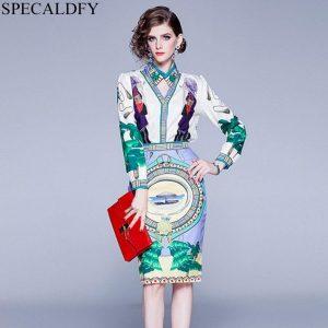 European Fashion High Quality 2 Piece Skirt Set Women Print Elegant Shirt Ladies Office Skirt Suit Autumn Two Piece Sets Outfits