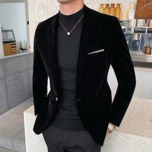 Casual Hombre Abrigo Casual Hombre Autumn Winter Velvet Blazers Mens Burgundy Suits Blazers For Mens Formal Dinner Dress Abrigo
