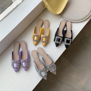 2020 Summer/Autumn Women Slippers Rhinestone Shallow Design Elegant Flats Slip On Shallow Design Mules Shoes Casual Ladies Mules