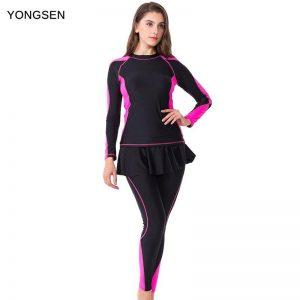 2020 New Women Muslim Print Skirt Swimsuit Sports Bathing suit Plus Size Swimwear Burkinis Long Sleeve Pants Zipper Beachwear