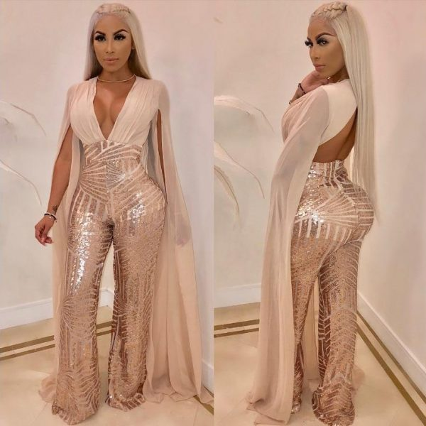 Newest Glitter Sequins Beige Black Red  Women Jumpsuit Girl Jumpsuit Bling Long Sleeves Girl Dress Ankle-length Party Clothes