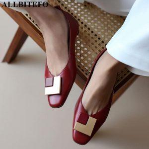 ALLBITEFO real genuine leather women heels soft cow leather women high heel shoes pigskin inside low heel shoes kitten heels