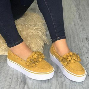 Dropship 2019 Platform Floral Flats Women Shoes Flock Casual Shoes Woman Spring Sneakers Slip On Leather Suede Ladies Loafers