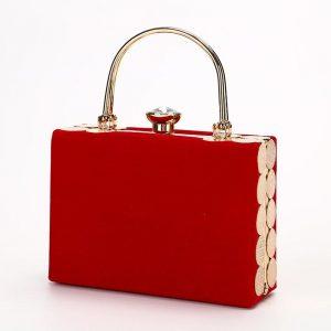 Elegant Velour Hard-Surface Women Evening Bags Rectangle Box Bag Handbags Black Red Fashion Party Clutches Ladies bolsa feminina