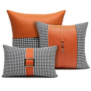 30x50/45/50cm luxury Orange pu leather cushion cover pillowcase waist pillow cushion cover black white houndstooth pillow cover